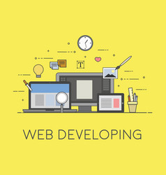 web and mobile developing process of developing vector image