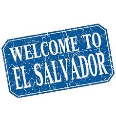 Welcome to El Salvador blue square grunge stamp vector