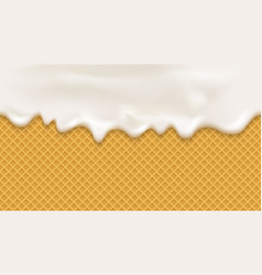 White cream in realistic style on wafer background vector