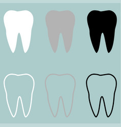 White grey black tooth icon vector