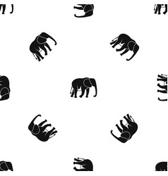 wild elephant pattern seamless black vector image