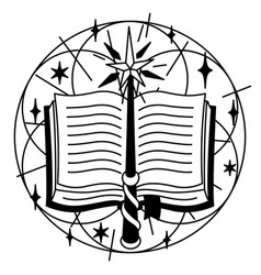 With spell book and magic wand vector