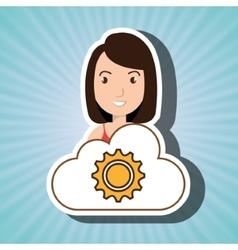 Woman cartoon gear work cloud vector