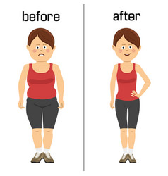 womans body before and after weight loss vector image
