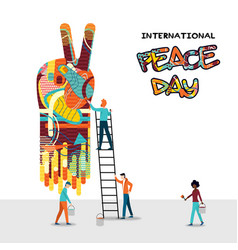 world peace day people teamwork concept vector image