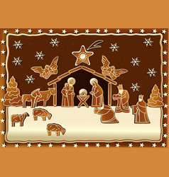 Gingerbread Nativity scene vector image vector image