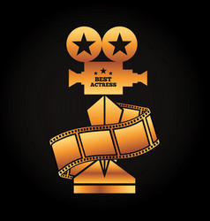 Gold award projector trophy best actress strip vector