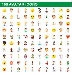 100 avatar icons set cartoon style vector image vector image