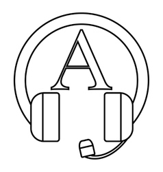 Language learning in headphones icon vector