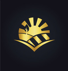nature landscape eco gold logo vector image vector image