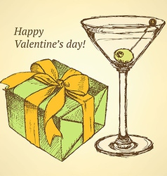 Sketch valentines set in vintage style vector image vector image