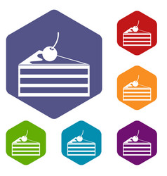 cake with cherries icons set vector image