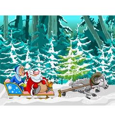 Cartoon sheep driven in a sleigh of santa claus vector