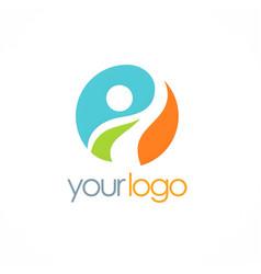 happy man success logo vector image