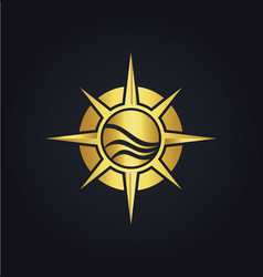 north star compass adventure gold logo vector image