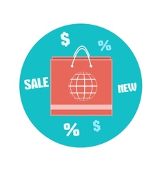 Paper shopping bag icon Business concept vector image