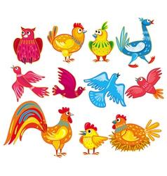 abstract birds set vector image