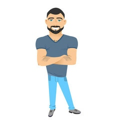 Character with beard flat hipster man with beard vector image vector image