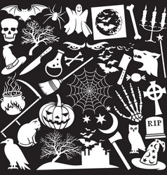 halloween icons seamless pattern or background vector image vector image