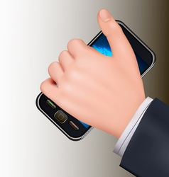 hand holding mobil telephone vector image vector image