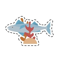 mackerel fish sea life coral line dotted vector image