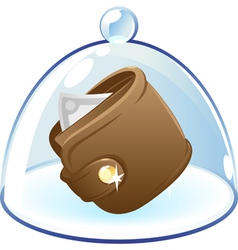 Purse under bell-glass concept vector image