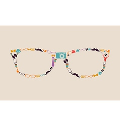 Vintage hipsters icons glasses vector image