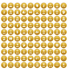 100 people icons set gold vector