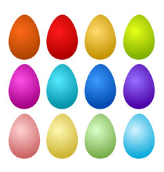 12 colorful painted easter eggs on white stock vector image