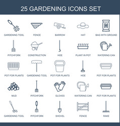 25 gardening icons vector image