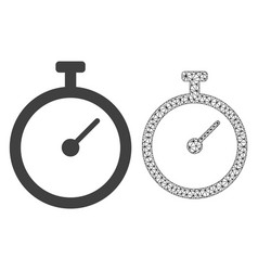 2d mesh time tracker and flat icon vector image
