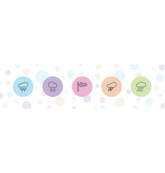 5 storm icons vector