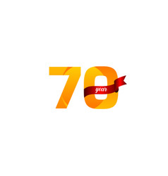 70 years anniversary celebration yellow with red vector