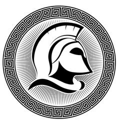 ancient spartan helmet and greek ornament meander vector image