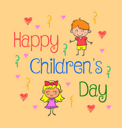 Background childrens day doodle style vector