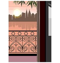 Balcony City sunset View vector image