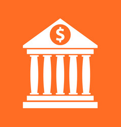 Bank building icon with dollar sign in flat style vector