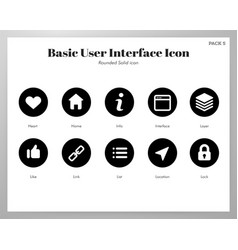 Basic ui icons rounded solid pack vector