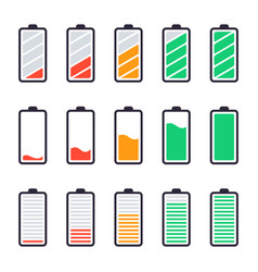Batteries full charge energy indicators charge vector