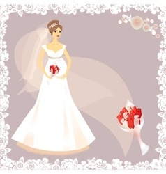 Beautiful pregnant bride silhouette vector image