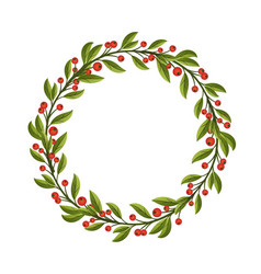 berries and leaves frame or wreath design template vector image