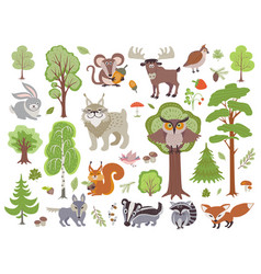 Big set wild forest animals birds and trees vector