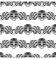 Biker rider skull and flags pattern vector image