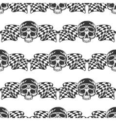 Biker rider skull and flags pattern vector