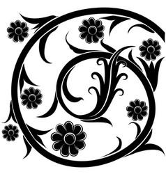 Black silhouette flowers vector