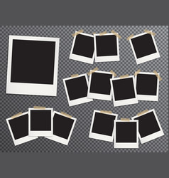 blank photo frames set hanging on adhesive tape vector image