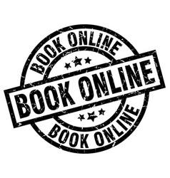 Book online round grunge black stamp vector