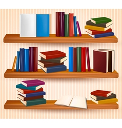 Bookshelf with colorful books and clock vector image