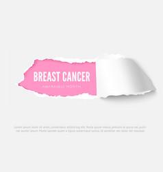 breast cancer awareness month banner design vector image