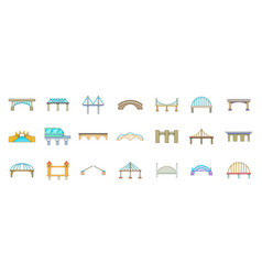 bridge icon set cartoon style vector image vector image